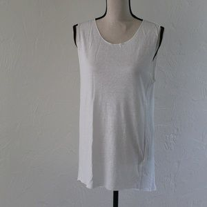 H&M White Linen Blend Muscle Tee